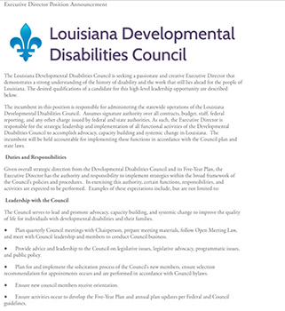 LA Developmental Disabilities Council - Exec. Director Position
